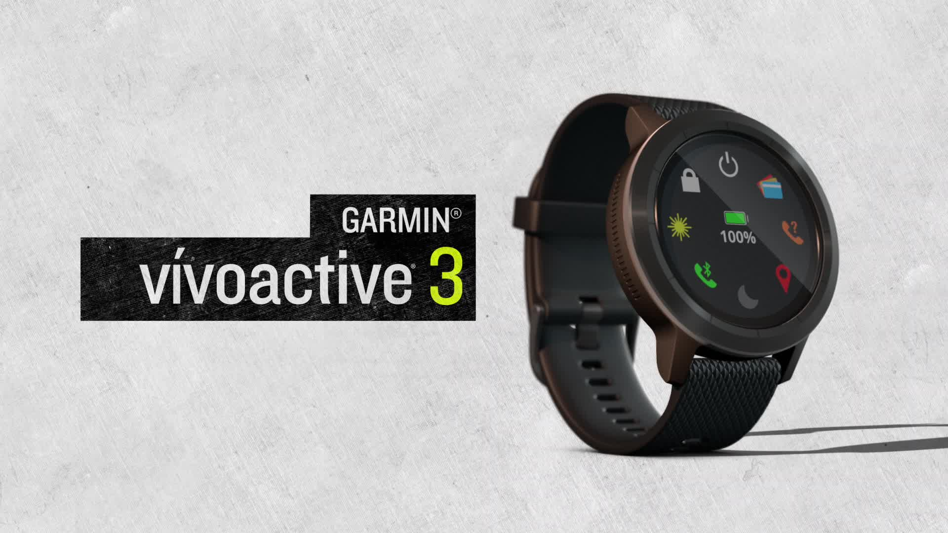 montre connect e de sport garmin vivoactive 3 avec gps et cardio poignet grise avec bracelet. Black Bedroom Furniture Sets. Home Design Ideas